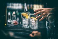 Бармен подготавливая коктеил Стоковое Изображение