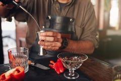 Бармен подготавливая экзотический коктеиль Стоковое фото RF