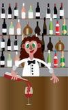 Бармен с пить иллюстрация штока