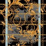 Барочная заплата с золотыми цепями и штукатуркой Безшовная картина для шарфов, печать, ткань бесплатная иллюстрация
