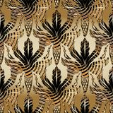 барочная картина листьев и жолудей дуба 3d безшовная Antiqu вектора иллюстрация штока