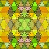 Барочная картина непрерывной текстуры треугольников в желтом и зеленом Красочная предпосылка мозаики иллюстрация вектора