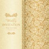 Барочное приглашение свадьбы, золото Стоковое фото RF
