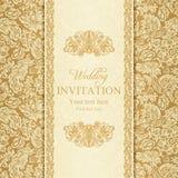 Барочное приглашение свадьбы, золото Стоковая Фотография RF