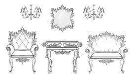 Барочное собрание богатого набора мебели Орнаментированная иллюстрация вектора предпосылки Стоковые Фото