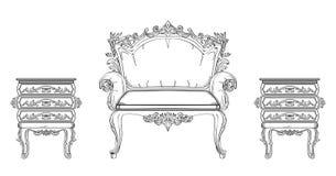 Барочное собрание богатого набора мебели Орнаментированная иллюстрация вектора предпосылки Стоковые Изображения