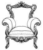 Барочное элегантное кресло изолированное на белой предпосылке вектор техника eps конструкции 10 предпосылок Стоковое Изображение