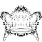 Барочное элегантное кресло изолированное на белой предпосылке вектор техника eps конструкции 10 предпосылок Стоковые Изображения