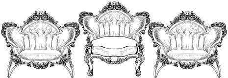 Барочное элегантное кресло изолированное на белой предпосылке вектор конструкций Стоковая Фотография