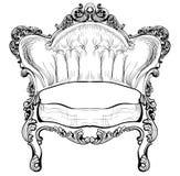 Барочное элегантное кресло изолированное на белой предпосылке вектор техника eps конструкции 10 предпосылок Стоковые Изображения RF