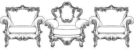 Барочное элегантное кресло установленное на белую предпосылку вектор техника eps конструкции 10 предпосылок Стоковое Изображение RF