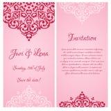 Барочные знамена приглашения свадьбы с местом fo Стоковое Фото