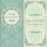 Барочные приглашение, синь и беж свадьбы Стоковое Изображение