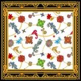 Барочный золотой цепной дизайн шарфа versace бесплатная иллюстрация