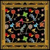 Барочный золотой цепной дизайн шарфа versace иллюстрация вектора