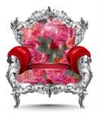 Барочный орнамент серебра кресла Винтажные богачи мебели высекли оформление Иллюстрация вектора драпирования красных роз Стоковое Изображение RF