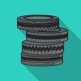 Баррикада от значка автошин в стиле плана изолированного на белой предпосылке Иллюстрация вектора запаса символа пейнтбола иллюстрация штока