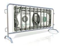 Баррикады стали и доллара Взгляд со стороны иллюстрация вектора