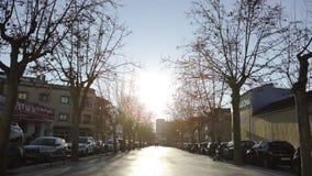 Барселона, Испания - май 2018: Переулок парка города с идя людьми в осени Искусство Жилой район с широкими улицами и видеоматериал