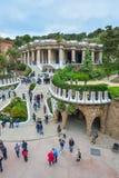 БАРСЕЛОНА, ИСПАНИЯ - 28-ОЕ АПРЕЛЯ: Gaudi Parc Guell - Барселона 28-ого апреля 2016 в Барселоне, Испании Стоковое Изображение RF