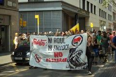 БАРСЕЛОНА, ИСПАНИЯ - 11-ОЕ СЕНТЯБРЯ 2014: Выраженность Antifa Стоковое фото RF
