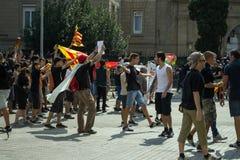 БАРСЕЛОНА, ИСПАНИЯ - 11-ОЕ СЕНТЯБРЯ 2014: Выраженность Antifa Стоковые Фото