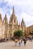 БАРСЕЛОНА, ИСПАНИЯ - 15-ОЕ СЕНТЯБРЯ: Собор святого креста и Стоковое фото RF
