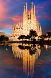 БАРСЕЛОНА, ИСПАНИЯ - 10-ОЕ ФЕВРАЛЯ 2016: Базилика i Sagrada Familia Стоковые Изображения RF