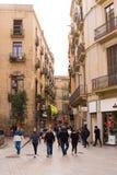 БАРСЕЛОНА, ИСПАНИЯ - 16-ОЕ ФЕВРАЛЯ 2017: Готический квартальный район Gothico вертикально Стоковые Изображения