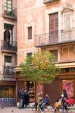 БАРСЕЛОНА, ИСПАНИЯ - 16-ОЕ ФЕВРАЛЯ 2017: Оранжевое дерево в центре города вертикально Стоковая Фотография RF