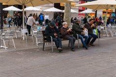 БАРСЕЛОНА, ИСПАНИЯ - 10-ОЕ ЯНВАРЯ 2017: взгляд улицы Стоковые Изображения