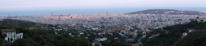 Барселона на заходе солнца Стоковые Фото