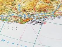 Барселона на карте Стоковые Изображения RF