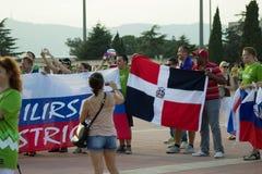 БАРСЕЛОНА - 6-ОЕ СЕНТЯБРЯ: Словения и Dominicana вентиляторы перед циновкой Стоковое Изображение
