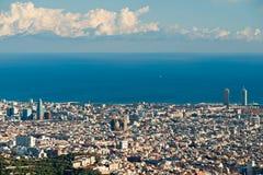 Барселона от Tibidano, Барселона, Испания. Стоковая Фотография