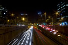 Барселона Света города ночи Стоковое фото RF