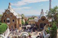 Барселона, Испания - 24-ое сентября 2016: Въездные ворота и здания Guell парка Стоковое Фото