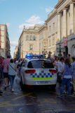 Барселона, Испания - 24-ое сентября 2016: Полицейская машина Guardia Урбаны в Барселоне Стоковая Фотография RF