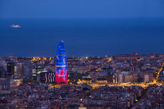 Барселона на башне Agbar ночи стоковое изображение rf