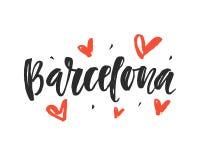 Барселона Современная рука города написанная литерность щетки Стоковые Фото