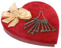 бархат красного цвета сердца коробки Стоковое Изображение RF