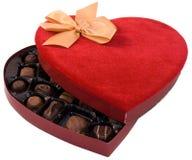 бархат красного цвета сердца коробки Стоковые Изображения RF