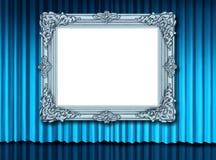 бархат пустой голубой рамки занавеса старый серебряный иллюстрация вектора