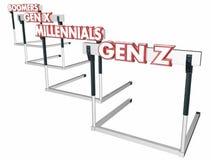 Барьеры Gen z поколения x Millennials Бумеров иллюстрация штока