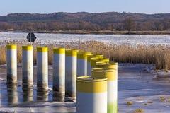 Барьер металла против ледяных полей Стоковое фото RF