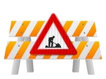 Барьер обеспечения безопасности на дорогах иллюстрация штока