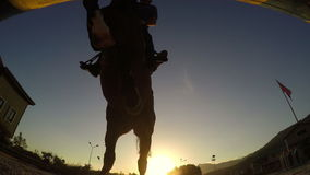 Барьер лошади скача на заходе солнца, всаднике силуэта акции видеоматериалы