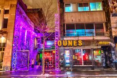 Бар в Монреале на ноче Стоковая Фотография RF