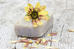Бар естественных мыла и цветка Стоковые Изображения RF