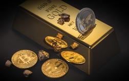 Бар золота и cryptocurrency стоковая фотография rf